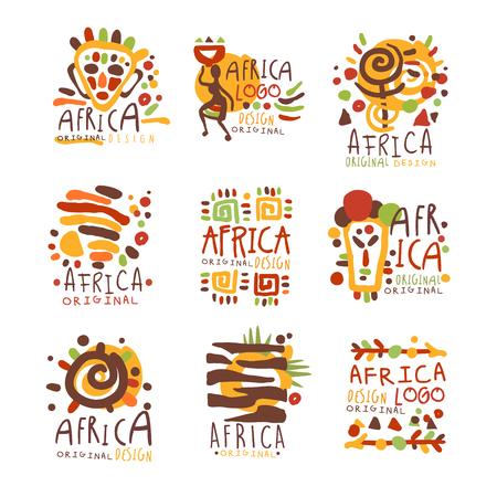 アフリカのオリジナル デザイン。アフリカのカラフルな手への旅行は、ベクター イラストを描き下ろし