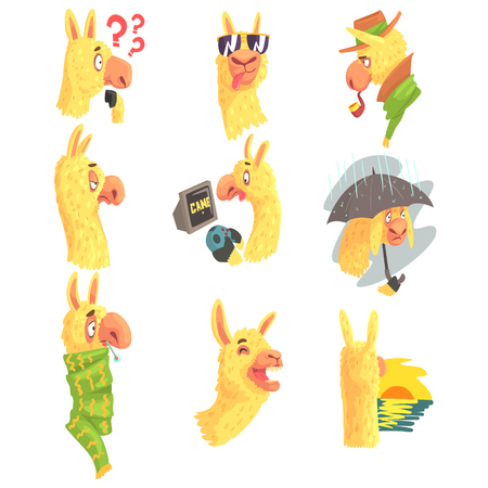 Cute alpaca characters posing in different situations, cartoon alpaca different activities colorful Illustrations Illustration