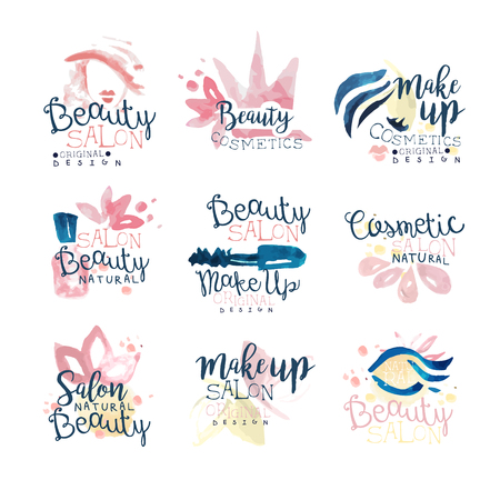 Beauty natural salon   design, set of colorful hand drawn watercolor Illustrations