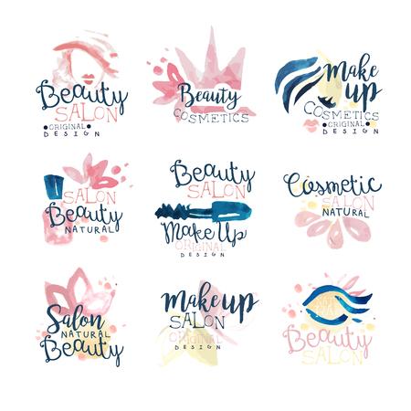 Beauty natural salon   design, set of colorful hand drawn watercolor Illustrations Фото со стока - 80272723
