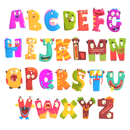 Colorful cartoon children English alphabet with funny monsters. Education and development of children detailed colorful Illustrations Illusztráció