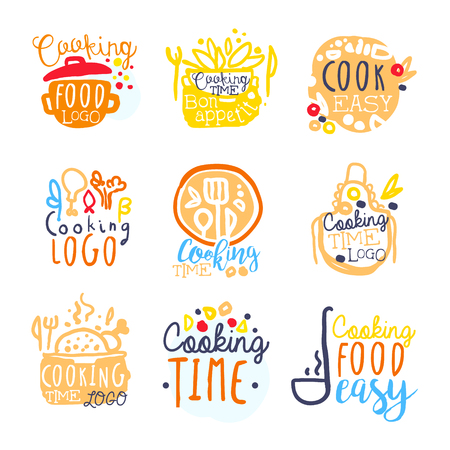 Cooking food easy   design, set of colorful hand drawn vector illustrations Иллюстрация