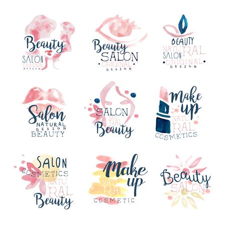 Schoonheidssalon logo ontwerp, set van kleurrijke hand getrokken aquarel illustraties