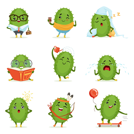 Cute cactus cartoon characters set, cacti activities with different emotions and poses, colorful detailed vector Illustrations