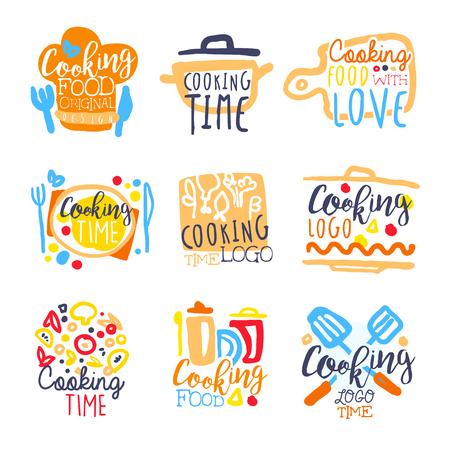 요리 시간 디자인, 다채로운 손으로 그린 벡터 일러스트 세트 일러스트