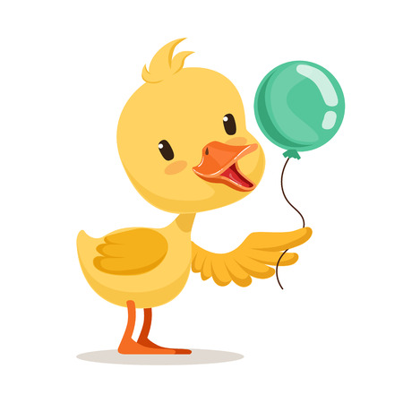 Little cartoon duckling character holding blue balloon, cute emoji vector Illustration