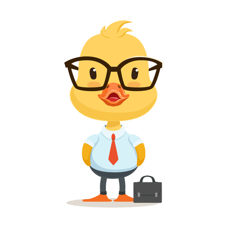 colourful tie: Little cartoon duckling character wearing as office worker, cute emoji vector Illustration