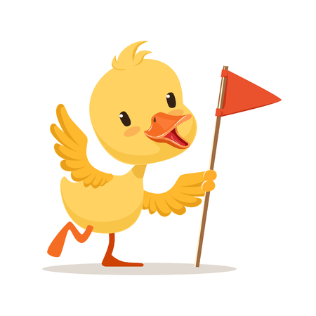 Yellow cartoon duckling holding red flag, cute emoji vector Illustration