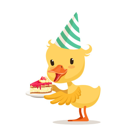 Little cartoon duckling in a party hat holding sweet cake, cute emoji character vector Illustration