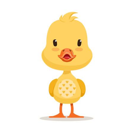 Patito amarillo dulce, vector de personaje de dibujos animados emoji Ilustración de vector
