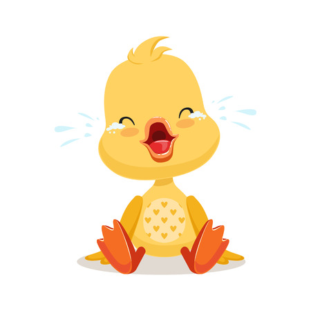 Little cartoon duckling crying, cute emoji character vector Illustration Illusztráció