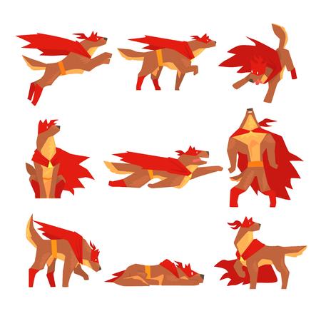 개 슈퍼 히어로 문자 집합, 개 다른 포즈와 빨간색 케이프 벡터 일러스트