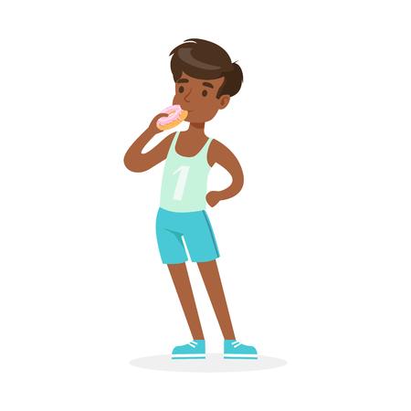 Netter Junge, der Donut, bunten Charaktervektor isst Standard-Bild - 80273204