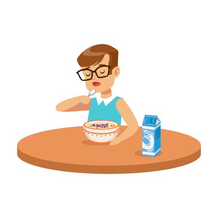 Leuke jongen die havermoutpap eten terwijl het hebben van ontbijt in de keuken, kleurrijke karakter vectorillustratie