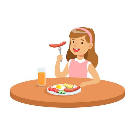 カラフルな文字ベクトル図のキッチンで朝食をとりながらソーセージを食べるかわいい女の子