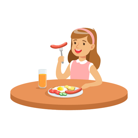 Cute girl eating sausage while having breakfast in the kitchen, colorful character vector Illustration Ilustração