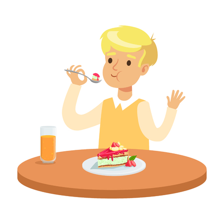 Cute blonde boy sitting at the table and eating a cake, colorful character vector Illustration