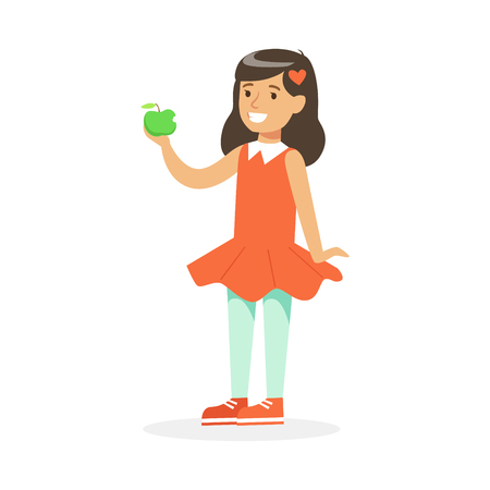 Cute smiling girl in red dress eating green apple, colorful character vector Illustration