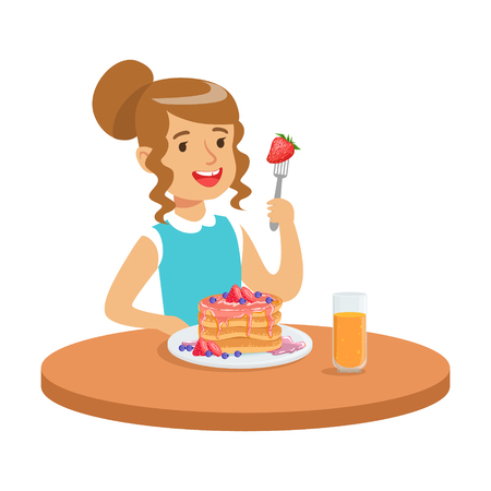 Happy girl sitting at the table and eating a cake, colorful character vector Illustration Vettoriali