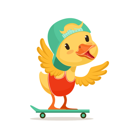 Little yellow duck chick in blue cap skateboarding, cute emoji character vector Illustration