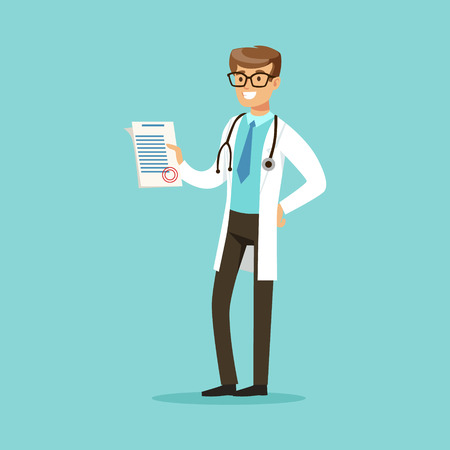 Smiling doctor character standing and holding medical notepad with prescription vector Illustration