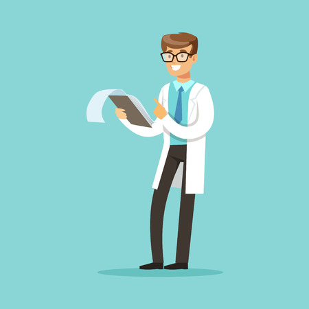 Smiling doctor character standing and reading medical notes vector Illustration Stock Illustratie