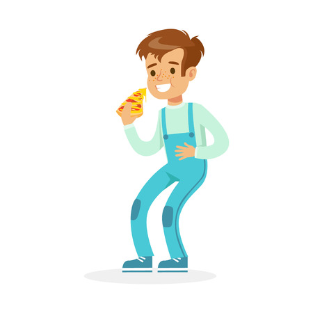 Cute smiling boy eating pizza, colorful character vector Illustration Illustration