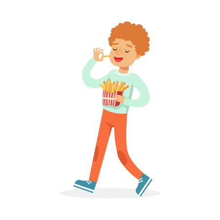 Cute happy boy eating french fries, colorful character vector Illustration