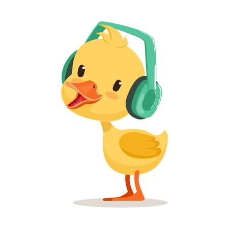 귀여운 노란 오리 병아리 헤드폰, 귀여운 그림이 문자 벡터 일러스트 레이 션에 음악을 듣고 일러스트