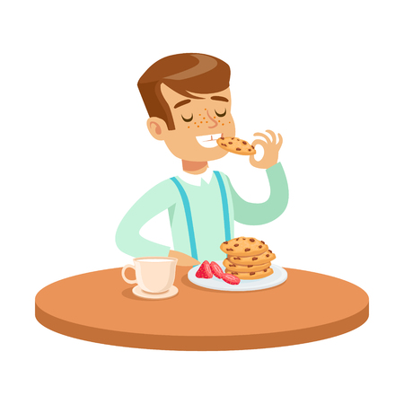 Happy boy sitting at the table and eating cookies, colorful character vector Illustration