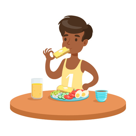 Cute boy having breakfast in the kitchen, colorful character vector Illustration