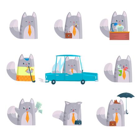 Caractère mignon homme d & # 39 ; affaires pour le travail et le chat drôle drôle ensemble dans différentes situations de différentes illustrations de dessin animé Banque d'images - 80273497