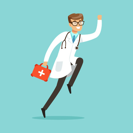 Smiling male doctor character running with first aid box vector Illustration Illusztráció