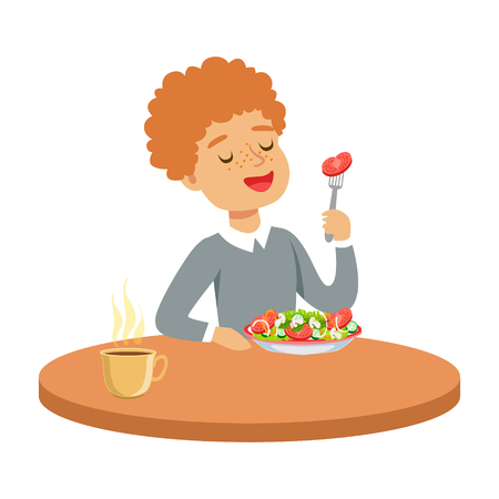 Happy redhead boy sitting at the table and eating a vegetable salad, colorful character vector Illustration