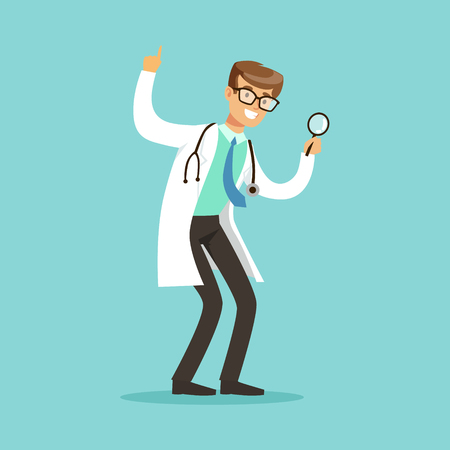 Smiling male doctor character standing and looking through loupe vector Illustration