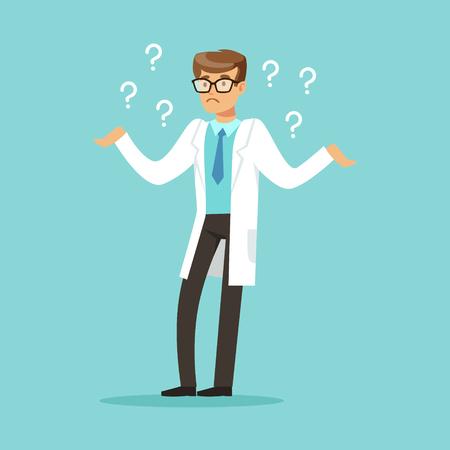 Nadenkend artsenkarakter dat vele vragen vectorillustratie heeft