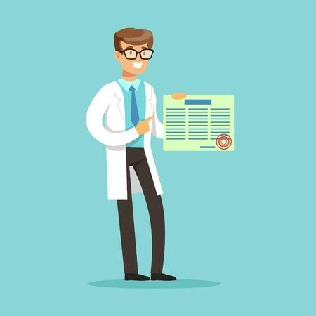 Lächelnder männlicher Doktor Charakter , der medizinische Medizin hält und hält Standard-Bild - 80273711