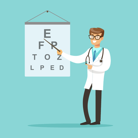 Smiling oculist or ophthalmologist doctor character pointing at the examination text vector Illustration