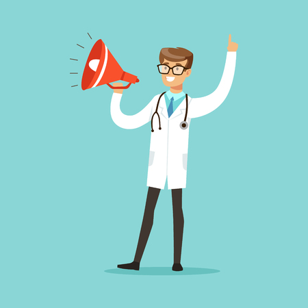 Young male doctor character shouting into a megaphone vector Illustration