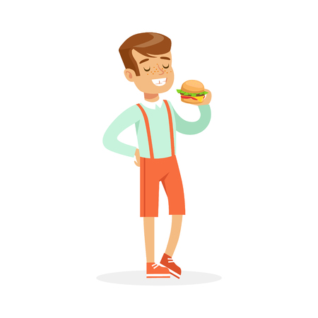 Smiling boy eating hamburger, colorful character vector Illustration