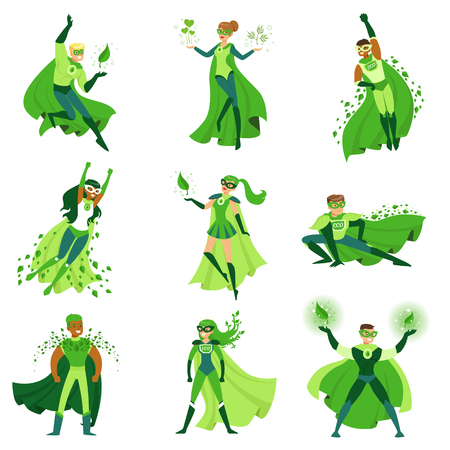 ECO superhero characters set, young men and women in different poses with green capes vector Illustrations isolated on a white background