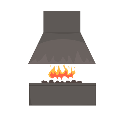 Barbecue smoker with fire, barbecue grill, BBQ vector Illustration isolated on a white background