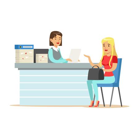 Jonge zakenvrouw interviewen sollicitant op balie in kantoor vector illustratie geïsoleerd op een witte achtergrond