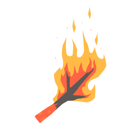 Burning dry branch vector Illustration isolated on a white background