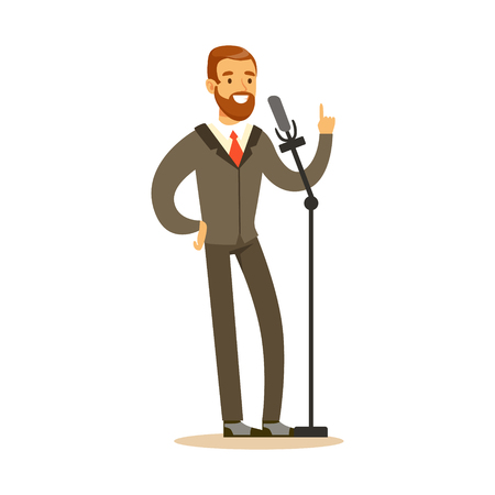 Smiling man speaking into the microphone, public speaker character vector Illustration isolated on a white background