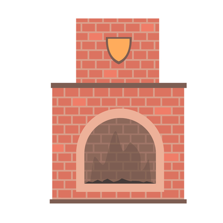 Brick home fireplace vector Illustration isolated on a white background