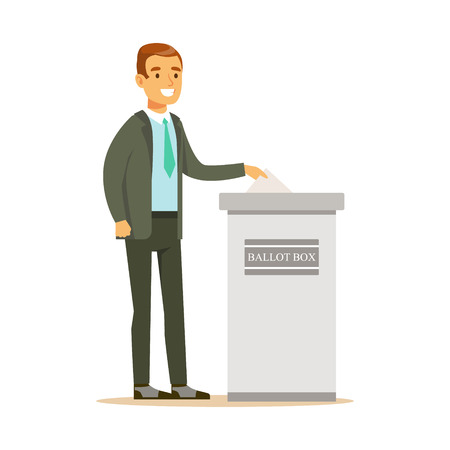 Man putting a ballot into a voting box, casting vote vector character Illustration isolated on a white background Illustration