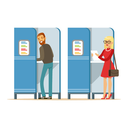 polling booth: Man and woman in voting booths casting their ballots vector Illustration isolated on a white background Illustration
