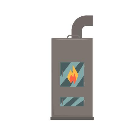 Typical interior iron wood burning stove vector Illustration isolated on a white background Illustration