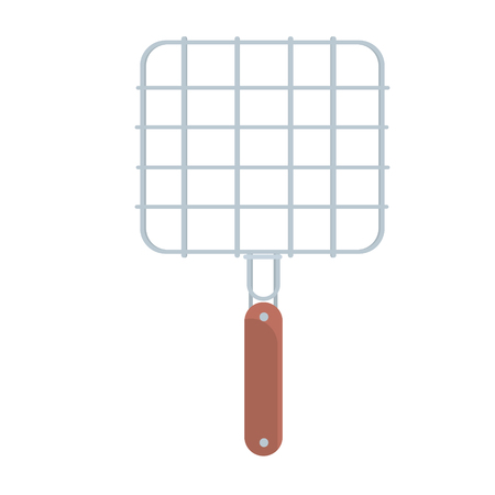 Steel barbecue grill grid vector Illustration isolated on a white background